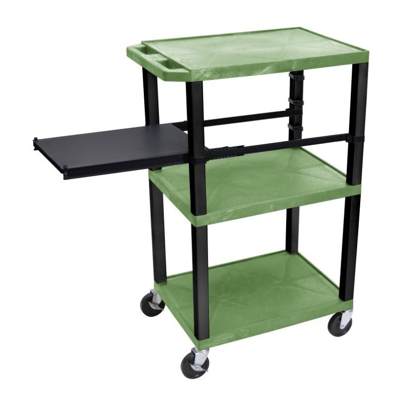 Luxor Tuffy Green 3 Shelf with Black Legs & Side Pull-out Shelf & Electric (WTPSP42GE-B)