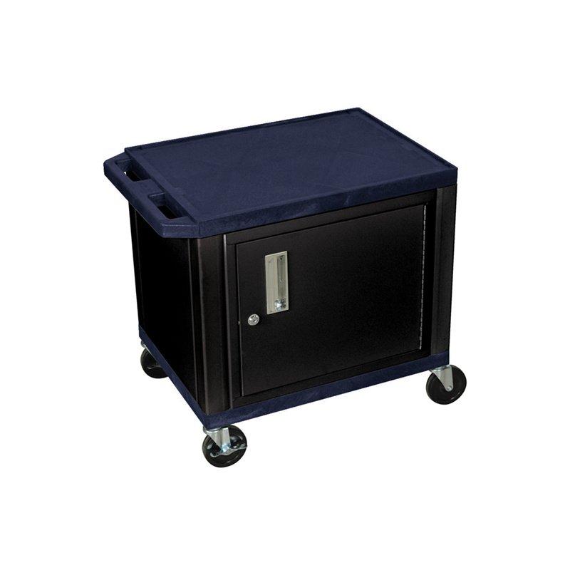 Luxor Tuffy Navy Blue 2 Shelf AV Cart with Black Cabinet & Electric (WT26ZC2E-B)