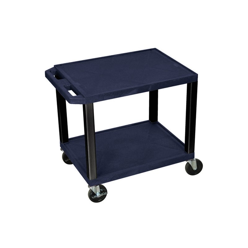 Luxor Tuffy Navy Blue 2 Shelf AV Cart with Black Legs & Electric (WT26ZE-B)