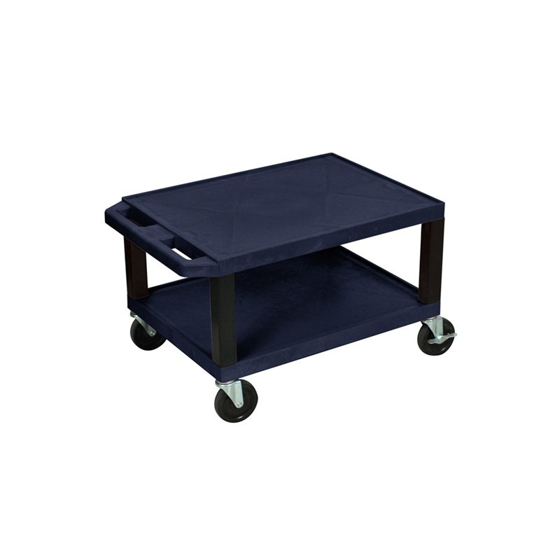 Luxor Tuffy Navy Blue 2 Shelf AV Cart with Black Legs (WT16ZE-B)