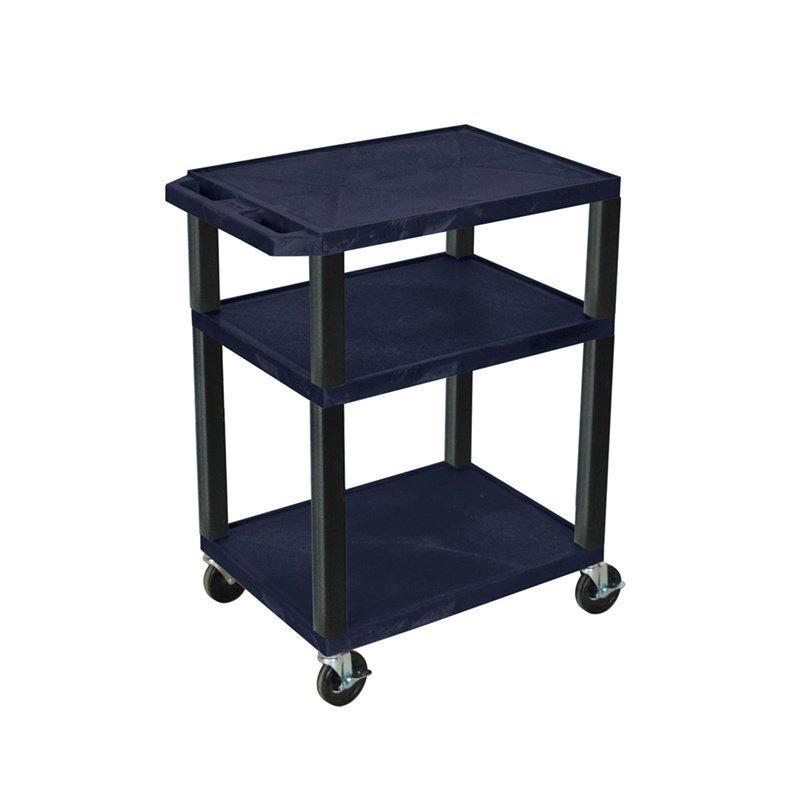 Luxor Tuffy Navy Blue 3 Shelf AV Cart with Black Legs & Electric (WT34ZE-B)