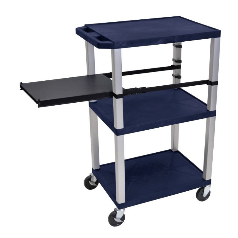 Luxor Tuffy Navy Blue 3 Shelf with Nickel Legs & Black Side Pull-out Shelf & Electric (WTPSP42ZE-N)