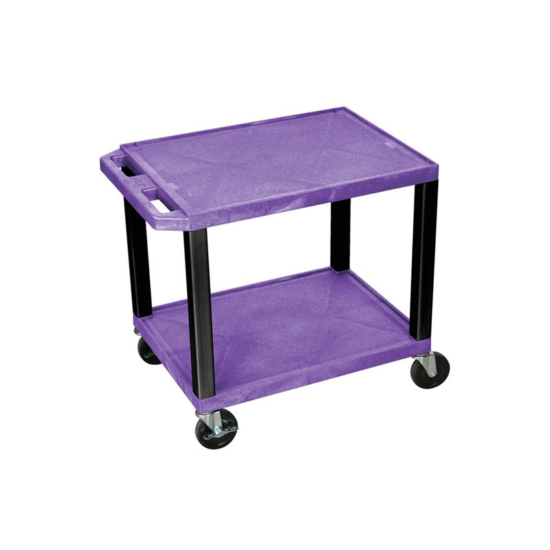 Luxor Tuffy Purple 2 Shelf AV Cart with Black Legs & Electric (WT26PE-B)