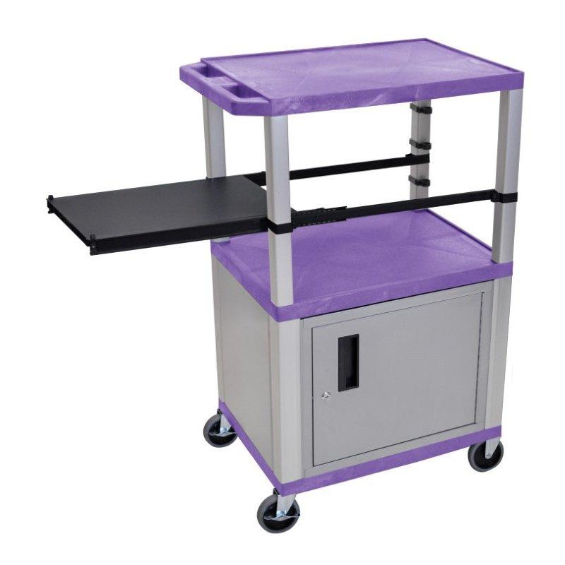 Luxor Tuffy Purple 3 Shelf & Nickel Legs - Cabinet & Black Side Pull-out Shelf & Electric (WTPSP42PC4E-N)