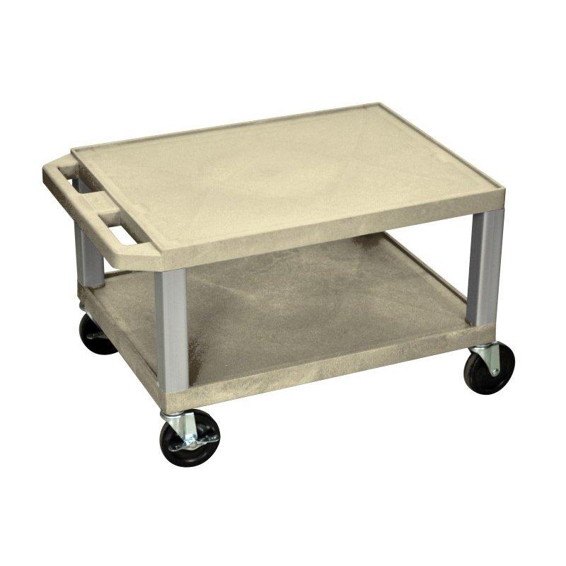Luxor Tuffy Putty 2 Shelf AV Cart with Nickel Legs & Electric (WT16OWE-N)