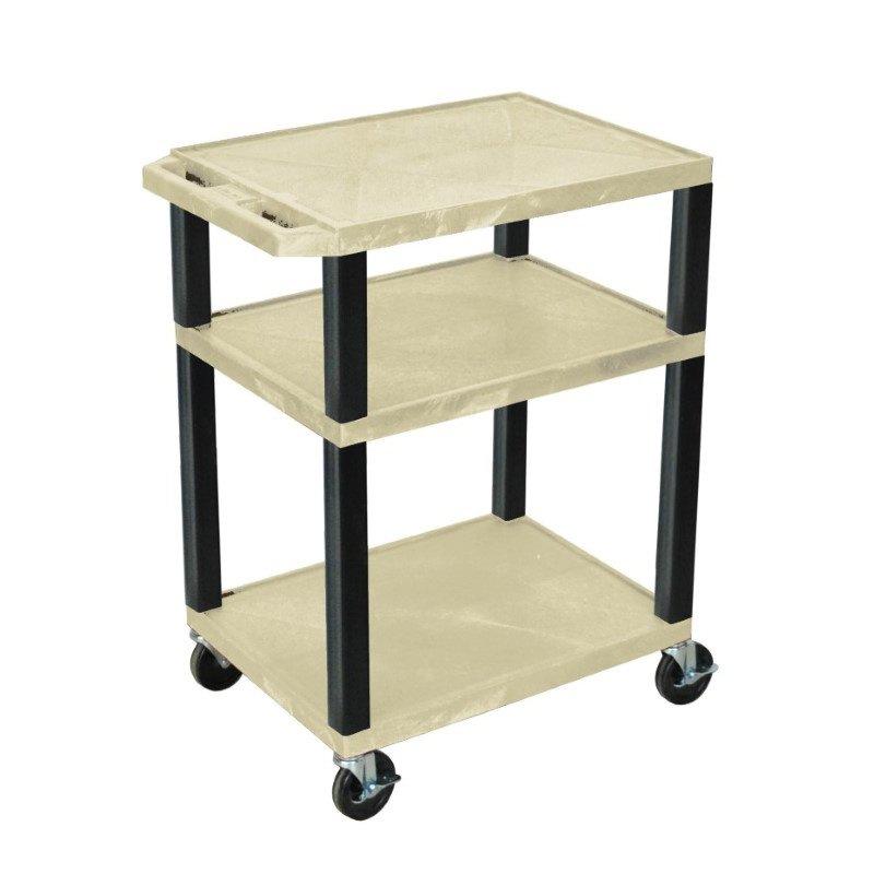 Luxor Tuffy Putty 3 Shelf AV Cart with Black Legs & Electric (WT34OWE-B)