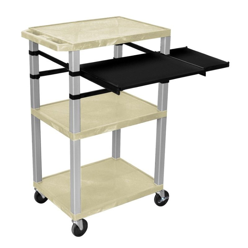 Luxor Tuffy Putty 3 Shelf with Nickel Legs & Black Front & Side Pull-out Shelves & Electric (WTPSLP42OWE-N)