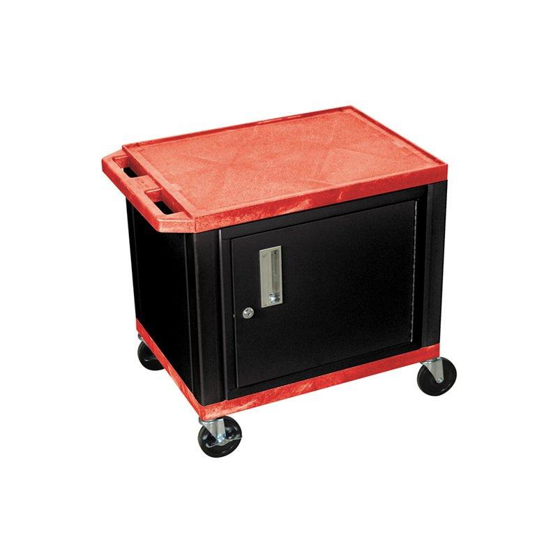 Luxor Tuffy Red 2 Shelf AV Cart with Black Legs - Cabinet & Electric (WT26RC2E-B)