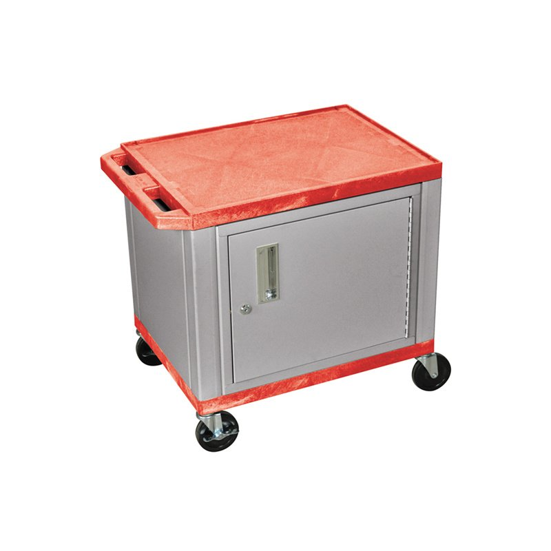 Luxor Tuffy Red 2 Shelf AV Cart with Nickel Legs - Cabinet & Electric (WT26RC4E-N)