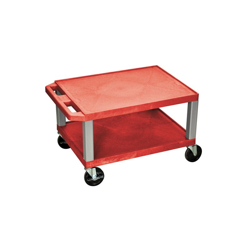 Luxor Tuffy Red 2 Shelf AV Cart with Nickel Legs & Electric (WT16RE-N)