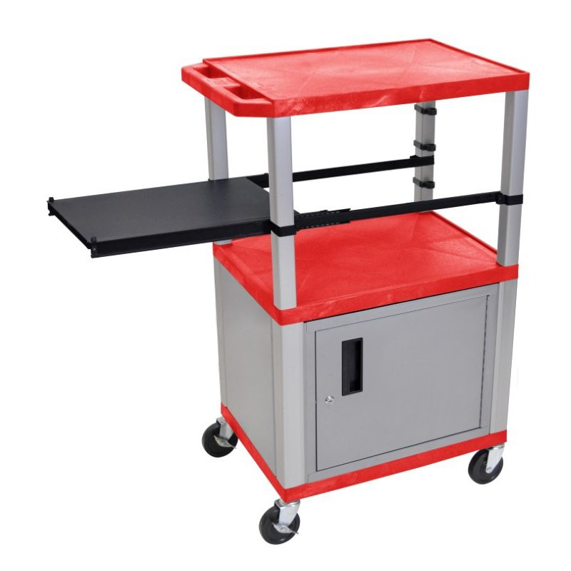 Luxor Tuffy Red 3 Shelf & Nickel Legs - Cabinet & Black Side Pull-out Shelf & Electric (WTPSP42RC4E-N)