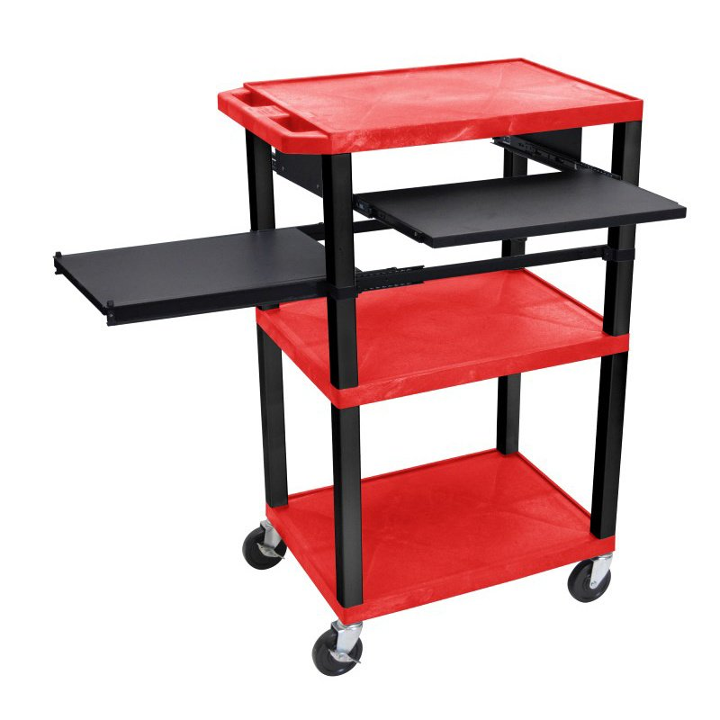 Luxor Tuffy Red 3 Shelf with Black Legs - Front & Side Pull-out Shelves & Electric (WTPSLP42RE-B)