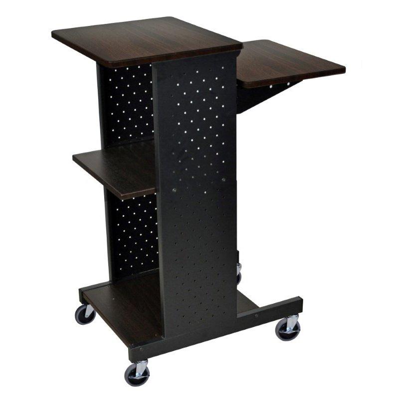 Luxor Walnut 4 Shelf Mobile Presentation Station (PS4000-W)