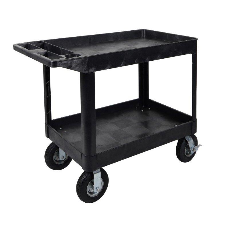 Luxor XLC11P8 Two Shelf heavy-duty Utility Cart with P8 Casters (XLC11P8-B)