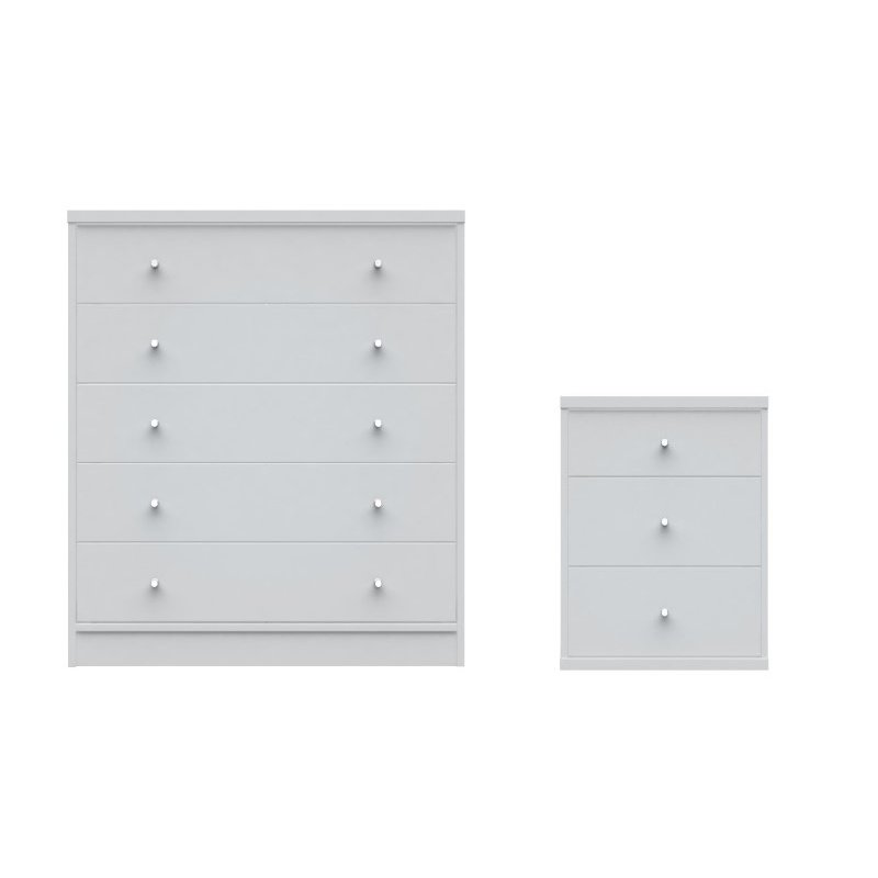 Manhattan Comfort 2-Piece Astor 2.0 Bedroom Dresser and Nightstand Set in White