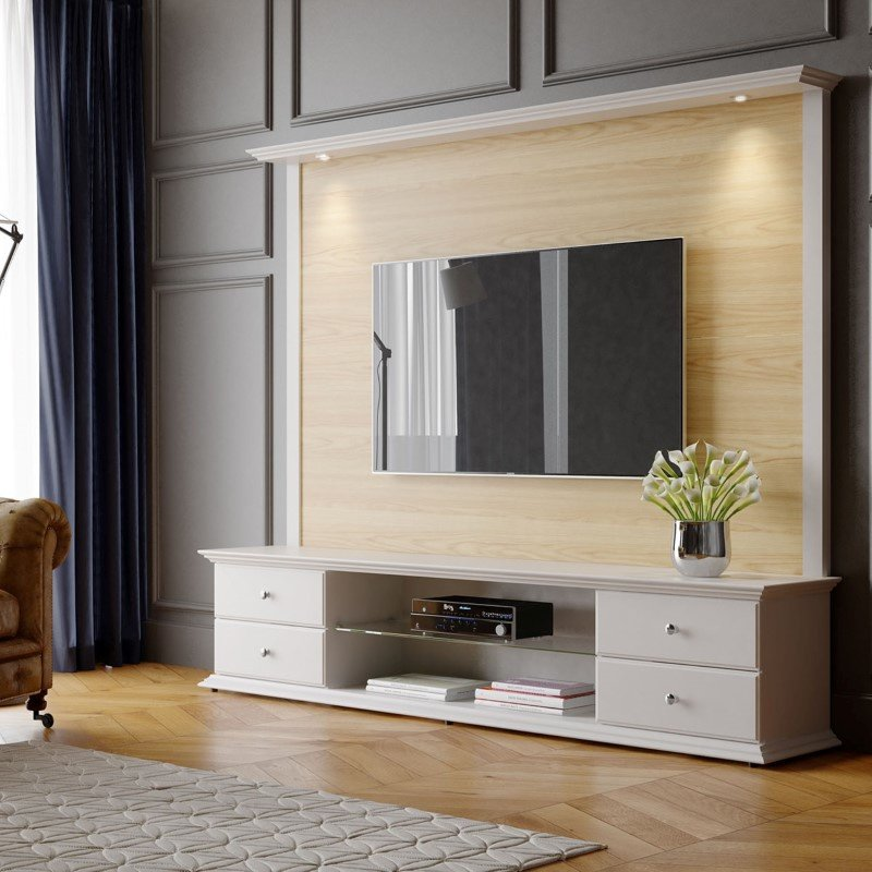 """Manhattan Comfort 2-Piece Carder 85.43"""" TV Stand and Panel with LED Lights in Nature Wood and Off White (2-221051251751)"""