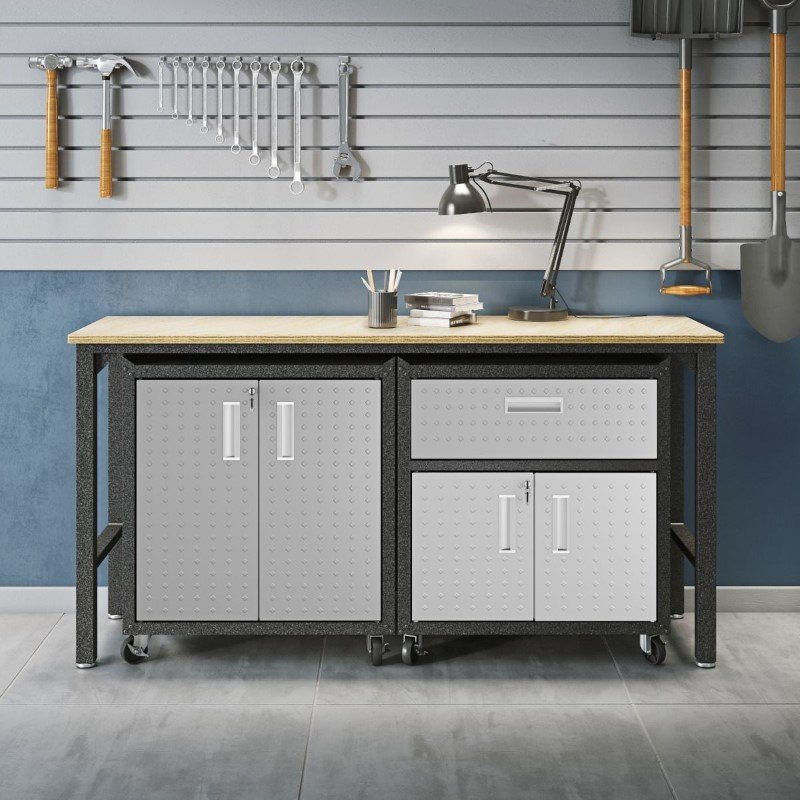 Manhattan Comfort 3-Piece Fortress Mobile Space-Saving Steel Garage Cabinet and Worktable 2.0 in Grey (15GMC)