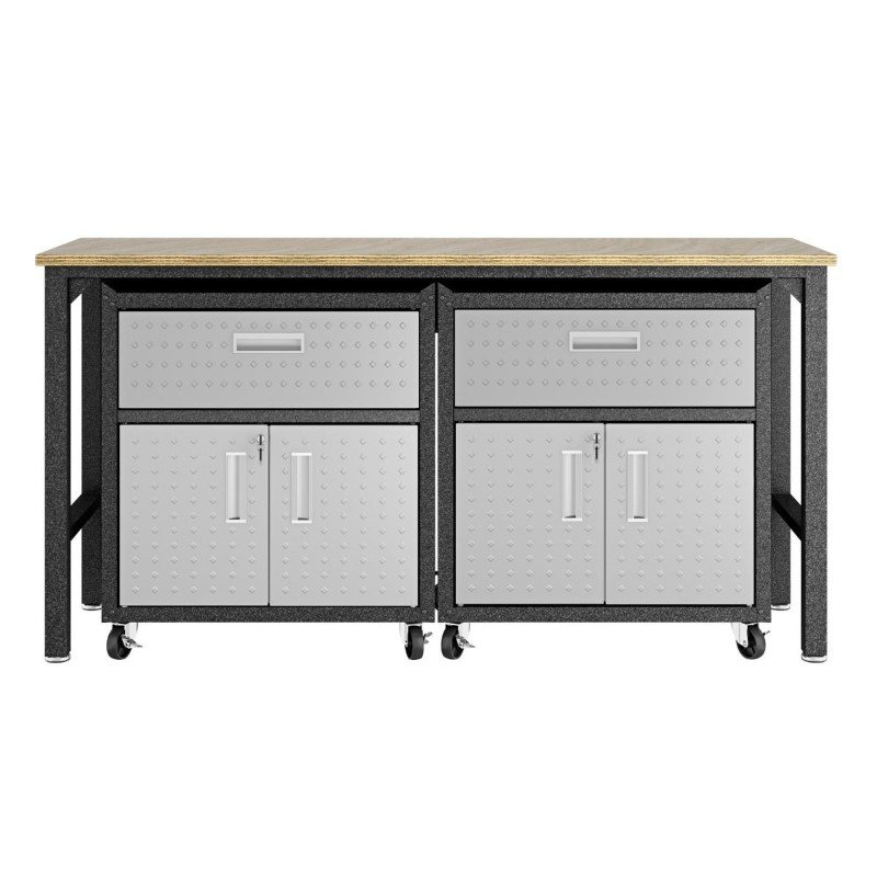 Manhattan Comfort 3-Piece Fortress Mobile Space-Saving Steel Garage Cabinet and Worktable 4.0 in Grey (17GMC)