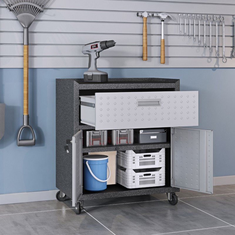 Manhattan Comfort 3-Piece Fortress Mobile Space-Saving Steel Garage Cabinet and Worktable 5.0 in Grey (18GMC)