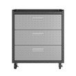 Manhattan Comfort 3-Piece Fortress Mobile Space-Saving Steel Garage Cabinet and Worktable 6.0 in Grey (19GMC)