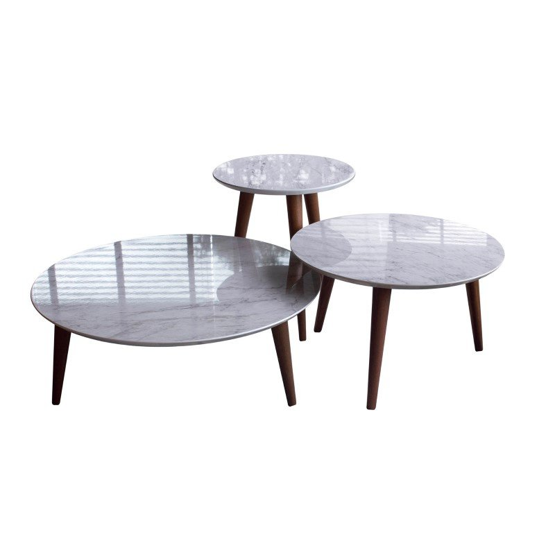 Manhattan Comfort 3- Piece Modern Moore Round End/Coffee Table in Marble Grey (3-252153)