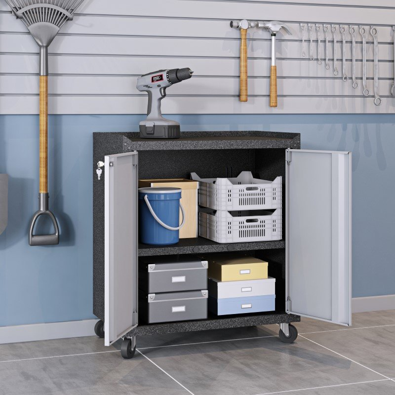 Manhattan Comfort 6-Piece Fortress Textured Garage Set with Cabinets - Wall Units and Table in Grey (6-GGGG)