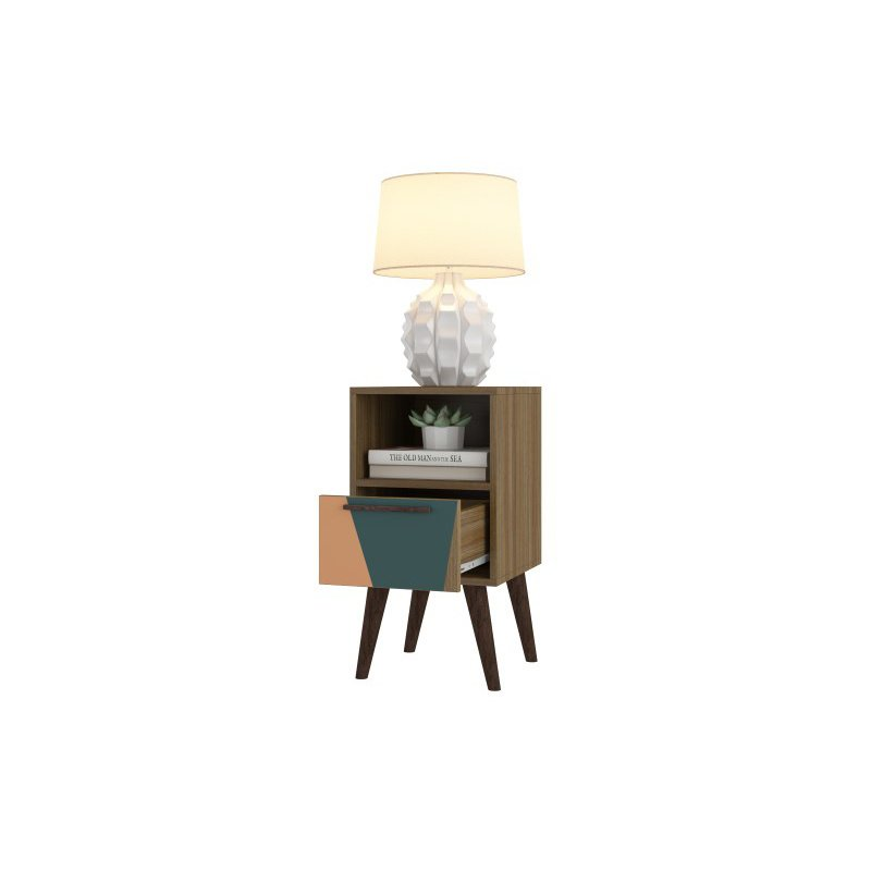Manhattan Comfort Abisko 2.0 Side Table with 1- Drawer in Oak Frame with Peach and Teal (1AMC173)