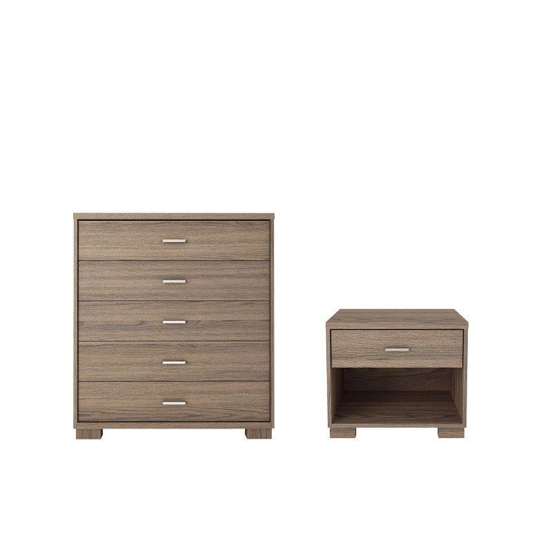 Manhattan Comfort Astor 2 Piece Bedroom Dresser and Nightstand Set in Chocolate