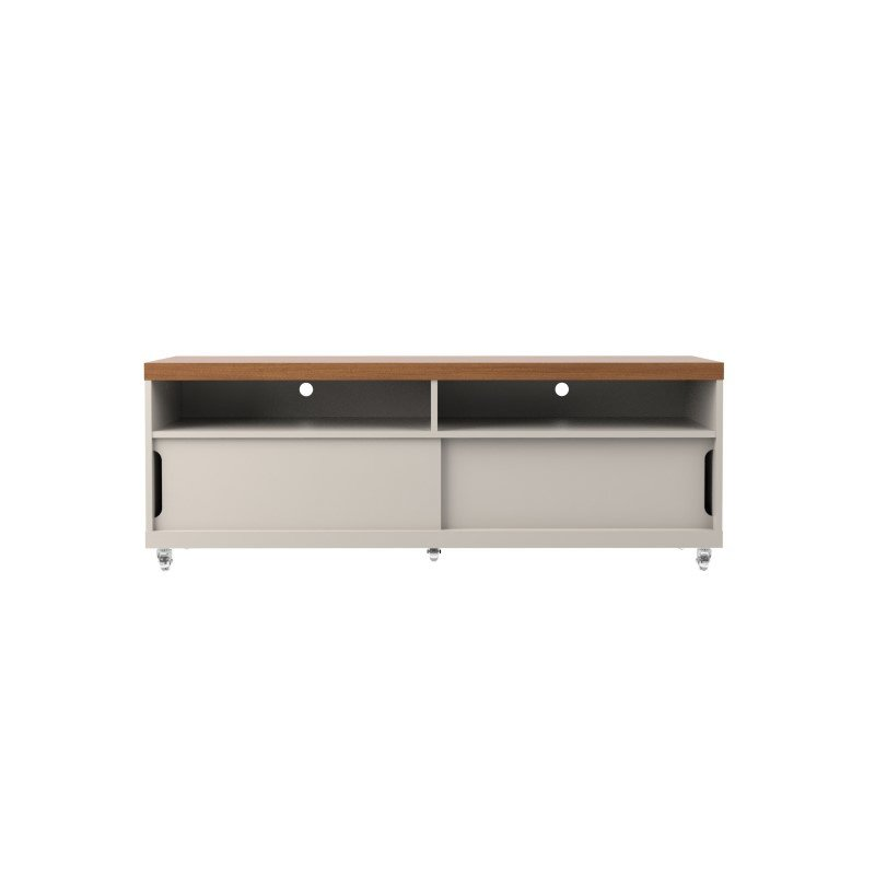 """Manhattan Comfort Batavia 53.14"""" TV Stand with Silicone Casters and 4 Shelves in Off White and Maple Cream  (19852)"""