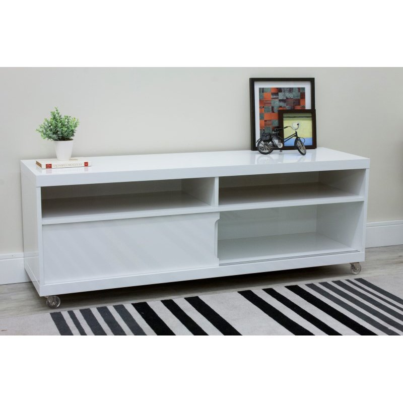 """Manhattan Comfort Batavia 53.14"""" TV Stand with Silicone Casters and 4 Shelves in White Gloss (19851)"""