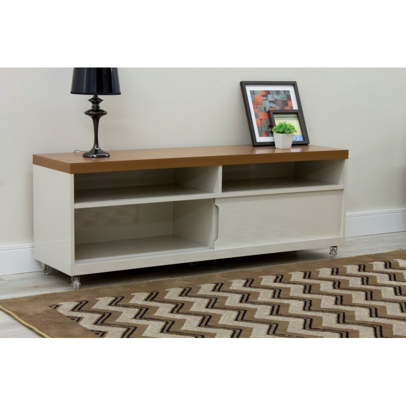 """Manhattan Comfort Batavia 70.86"""" TV Stand with Silicone Casters and 4 Shelves in Off White and Maple Cream  (19952)"""