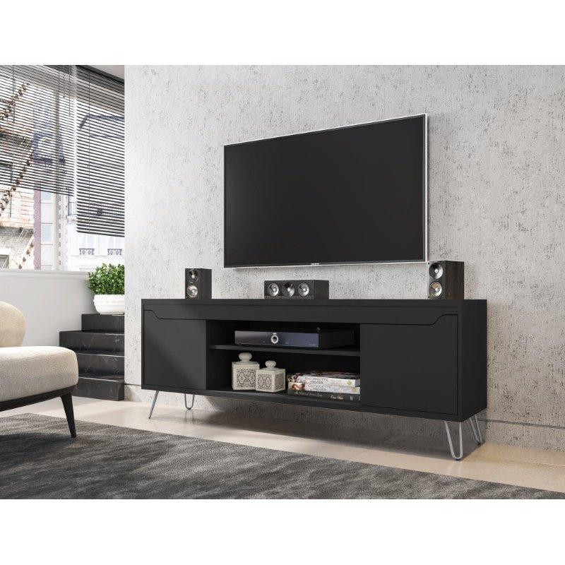 "Manhattan Comfort Baxter Mid-Century Modern 62.99"" TV Stand with 4 Shelves in Black (217BMC8)"