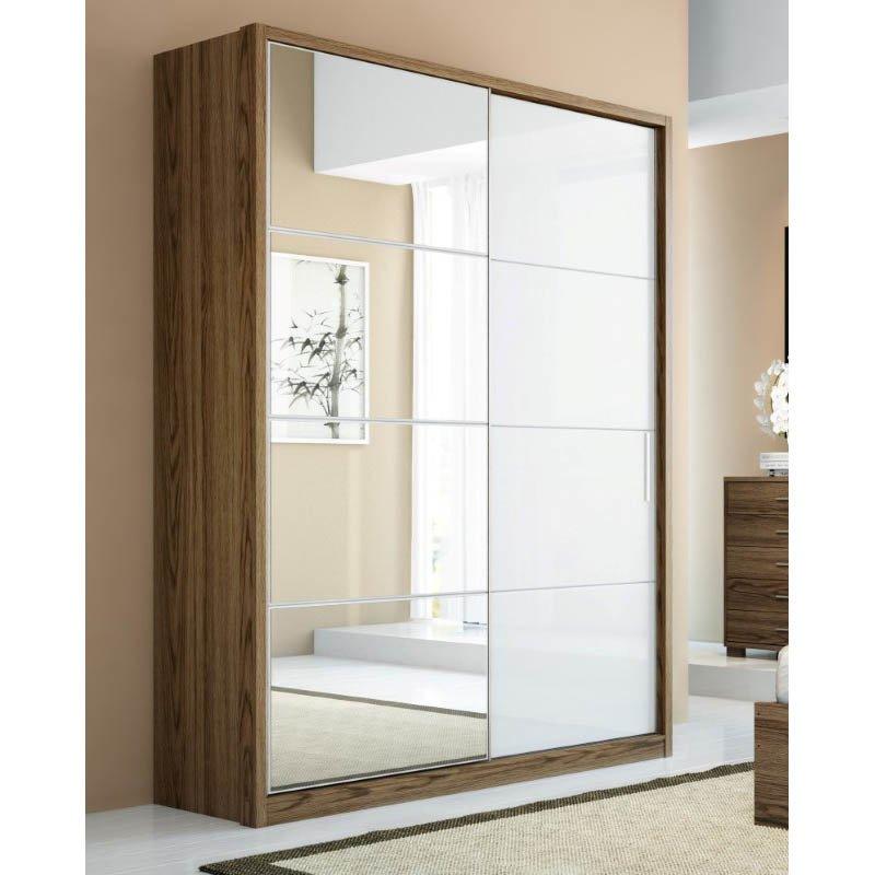 Manhattan Comfort Bellevue 2-Doors Wardrobe Armoires in White and Chocolate