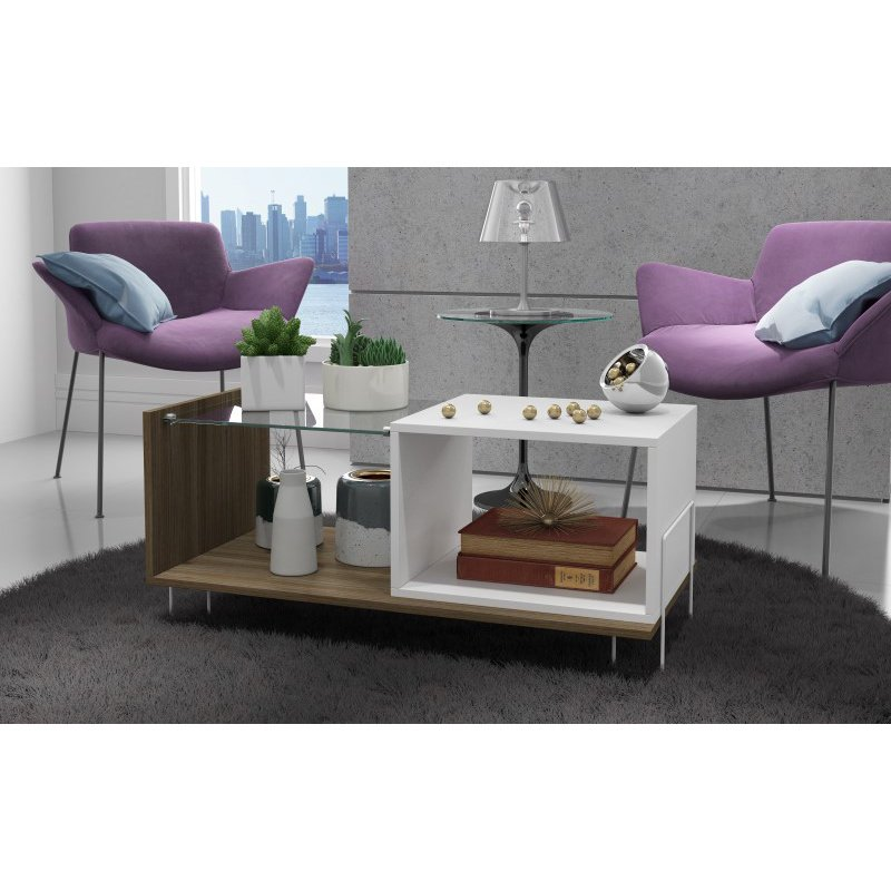 """Manhattan Comfort Boden 17.52"""" End Table with 2 Shelves in White and Oak (97AMC47)"""