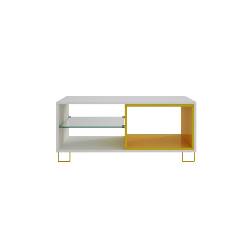 """Manhattan Comfort Boden 35.43"""" TV Stand with 3 Shelves in White and Yellow (98AMC128)"""