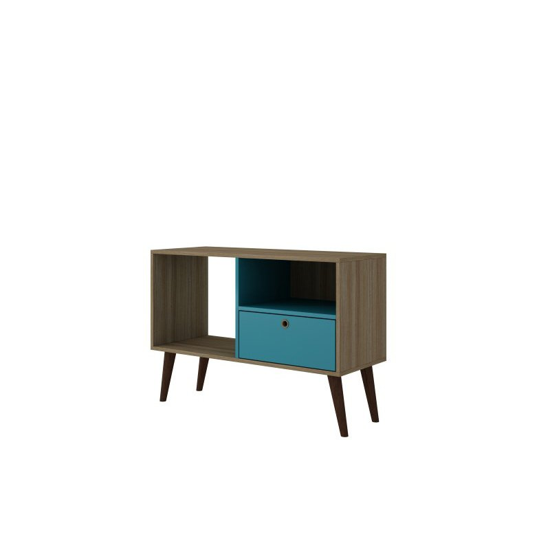 """Manhattan Comfort Bromma 35.43"""" TV Stand with 1 Drawer and 2 Shelves in Oak and Aqua (93AMC134)"""