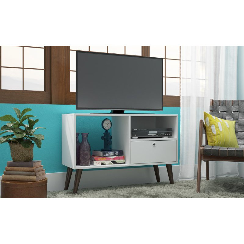 """Manhattan Comfort Bromma 35.43"""" TV Stand with 1 Drawer and 2 Shelves in White (93AMC129)"""
