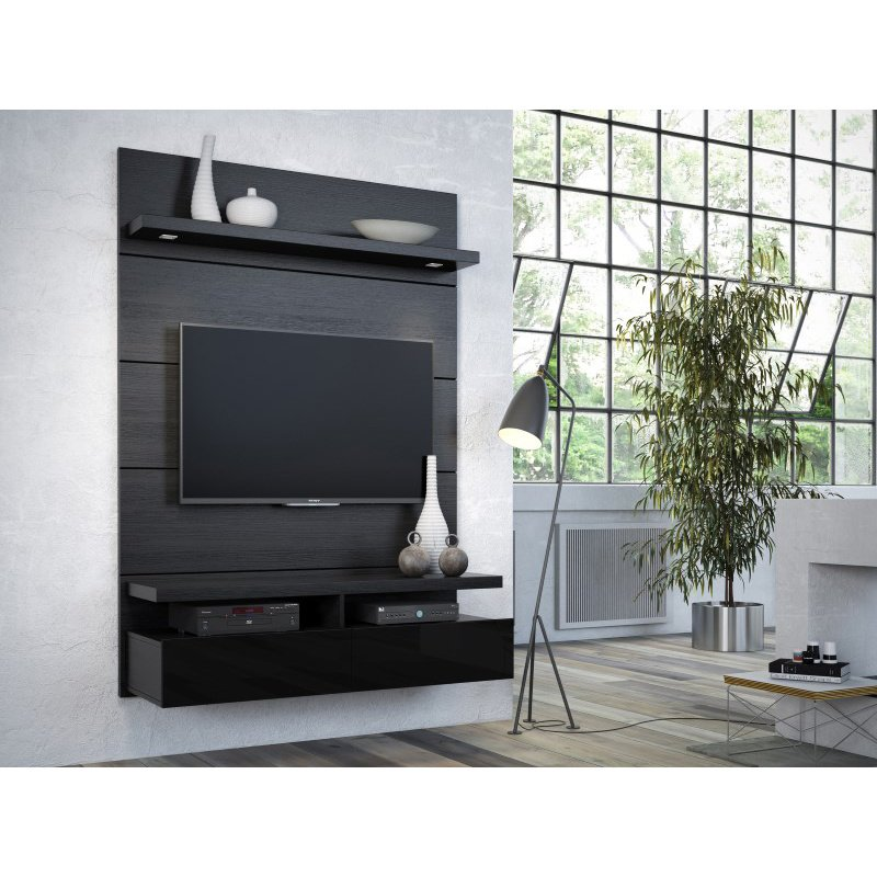Manhattan Comfort Cabrini 1.2 Floating Wall Theater Entertainment Center in Black Gloss and Black Matte