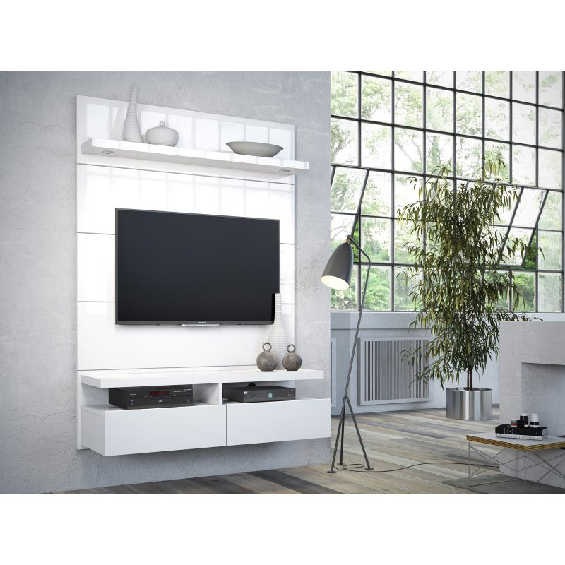 Manhattan Comfort Cabrini 1.2 Floating Wall Theater Entertainment Center in White Gloss