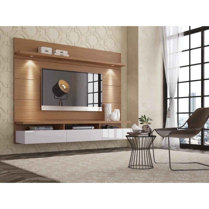 Manhattan Comfort Cabrini 2.2 Floating Wall Theater Entertainment Center in Maple Cream and Off White (23854)