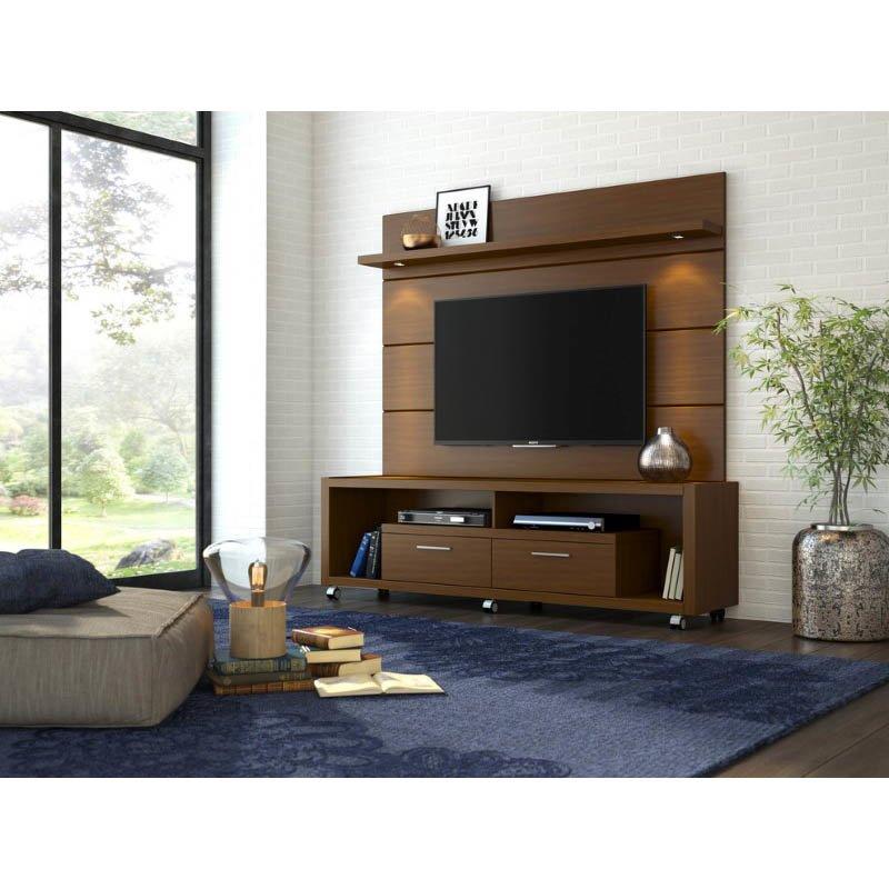 Manhattan Comfort Cabrini Panel 1.8 TV Stands & Entertainment Centers in Nut Brown