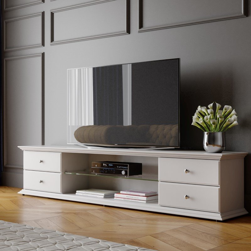 """Manhattan Comfort Carder 85.43"""" 4-Drawer TV Stand with Glass Shelves in Off White (221051)"""