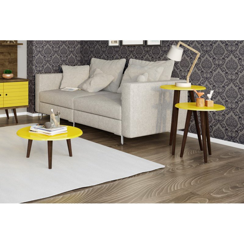 Manhattan Comfort Carmine Mid Century Modern End/Coffee Table Set in Yellow with Solid Wood Splayed Legs - Set of 3 (206AMC93)