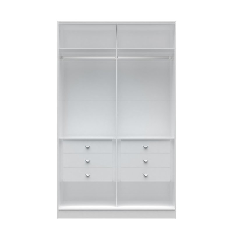 Manhattan Comfort Chelsea 1.0 54.33 inch Wide He/ She Wardrobe with 6 Drawers in White