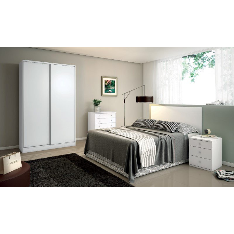 Manhattan Comfort Chelsea 2.0 70.07 inch Wide Double Basic Wardrobe with 3 Drawers and 2 Sliding Doors in White