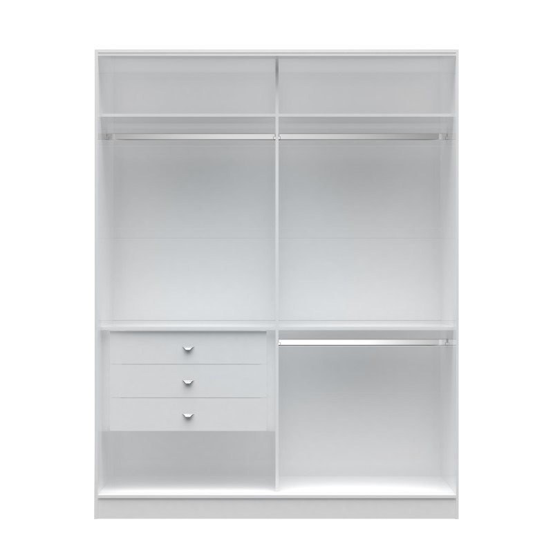 Manhattan Comfort Chelsea 2.0 70.07 inch Wide Double Basic Wardrobe with 3 Drawers in White