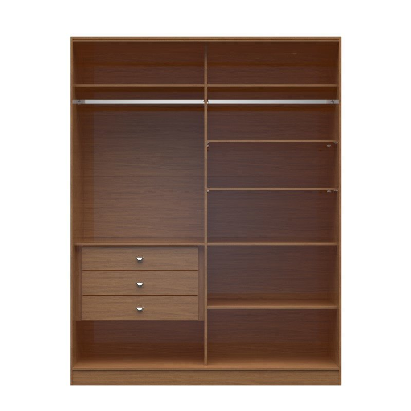 Manhattan Comfort Chelsea 2.0 70.07 inch Wide Full Wardrobe with 3 Drawers in Maple Cream