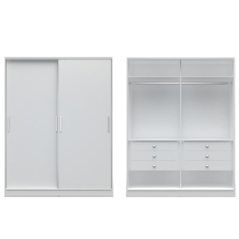 Manhattan Comfort Chelsea 2.0 70.07 inch Wide He/ She Wardrobe with 6 Drawers and 2 Sliding Doors in White