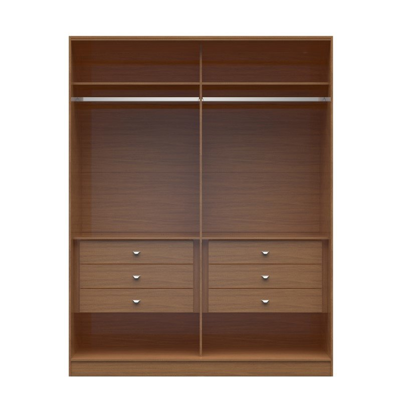 Manhattan Comfort Chelsea 2.0 70.07 inch Wide He/ She Wardrobe with 6 Drawers in Maple Cream