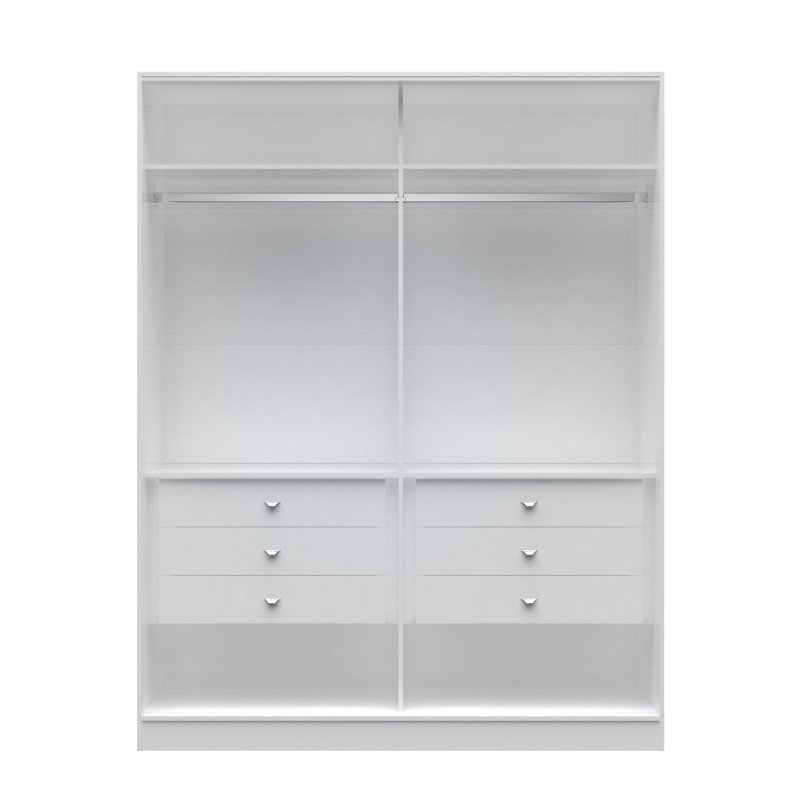 Manhattan Comfort Chelsea 2.0 70.07 inch Wide He/ She Wardrobe with 6 Drawers in White